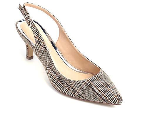 Greatonu Spitz Sandalen Slingback Kitten Absatz Pointed Toe Braunes Karo Größe 38EU (Schuhe Braune Frauen Für)