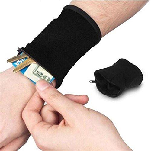 rungao 2pcs Multifunktion Handgelenk Tasche Reißverschluss Geldbeutel Schlüssel Tasche, Schwarz