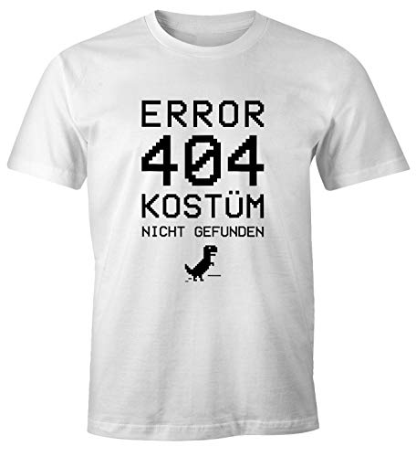 MoonWorks® Herren T-Shirt Error 404 Kostüm Nicht gefunden Fasching Karneval Fun-Shirt weiß 4XL