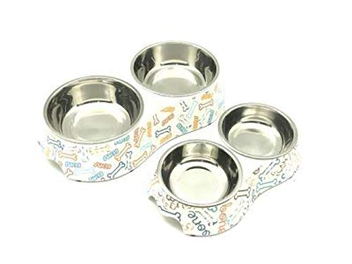 qiulanjia Edelstahl Hundenapfffutter Doppel Melamin Haustierfutter Wasser Katze liefert