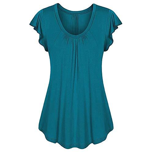 Baumwolle Geraffte Rollkragen (LOPILY Sommer T-Shirt Kurzarmshirt Damen Elegante Übergröße Kurzarm Gekräuselte Geraffte Shirts Blusen Tops Sommer Lässige Unregelmäßiger Saum Falten Bluse Oberteil(Dunkelblau,6XL))