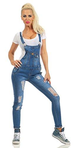 3865 Fashion4Young Damen Jeans Latzhose Latz Jeans Röhrenjeans Jeanslatzhose Stretch Slimline (blau, M-38)