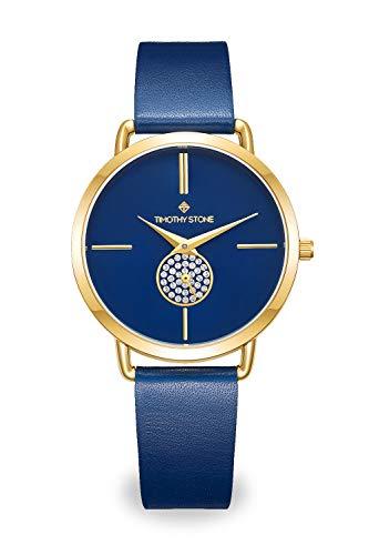 Blau Lederband Uhr für Frauen mit Swarovski-Kristallen