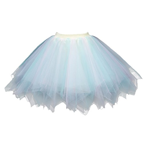 Feoya Damen Kurz Retro Petticoat Rock Ballett Blase 50er Tutu Unterrock Tütü Abschlussball Tanzkleid Party Minirock - Ballett Tanzkleider Kostüm