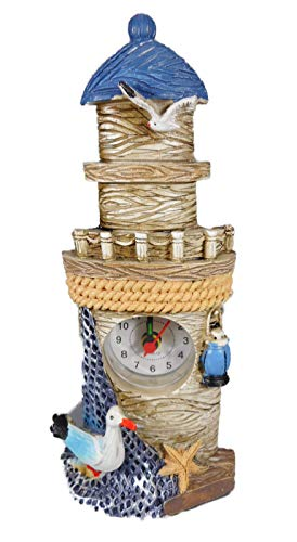 Maritim Leuchtturm Uhr 18 x 8 cm Möwe Laterne Nordsee See Figur Deko GCG 2540 -