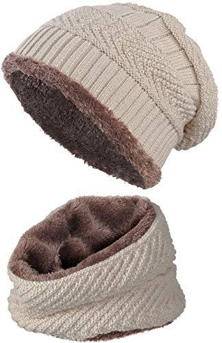 warm gefütterte Beanie + Schal mit Teddy-Fleece Fütterung mit Flechtmuster Wintermütze Einheitsgröße für Damen & Herren Mütze (4A) (Beige/Braun)