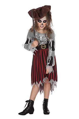 Wilbers Piratenkostüm Mädchen Pirat Skelett Kinder Kostüm Halloween Karneval 128-164 Schwarz/Rot/Weiß 164 (13-14 Jahre)