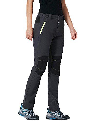 Qitun Herren Damen Gefüttert Verdickte Funktionshosen Wasserdicht warm Skihosen Trekkinghose Hosenträger Grau Damen XL