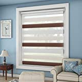 OUBO Doppelrollo Klemmfix ohne Bohren 90x 150 cm (BxH) Weiß-Beige-Braun Fenster Duo Rollo - lichtdurchlässig und verdunkelnd Wandmontage Deckenmotage Sichtschutz Rollo mit Klemmträgern für Fenster & Tür