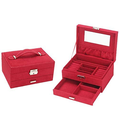 Eysee Schmuckkasten Schmuckkästchen Schmuckkoffer für Halsketten Ohrringe Ringe 20,2cm*10,2cm*15,2cm (Mode 2 Rot)