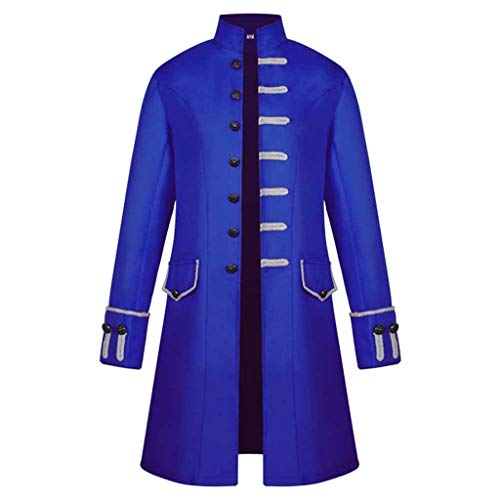 iYmitz Damen Herren Mantel Frack Jacke Gothic Gehrock Uniform Kostüm Praty Outwear (X2-Blau,EU-2XL) (Herren-x2-unterwäsche)