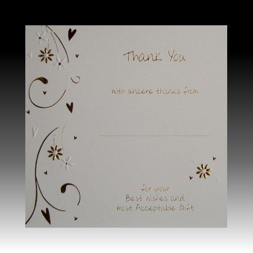 Dankeskarten für Hochzeitsgäste (englischsprachig), Blumen- und Herzmotiv, mit Folie goldfarben, 10 Stück