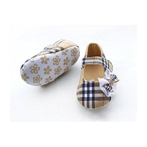 Chaussure souple bébé 0 à 12 mois, modèle Tartan beige 3/6 mois