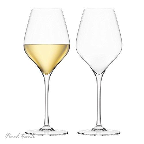 Final Touch 100% Lead-free Crystal White Wine Glasses Weiß Weingläser Kristallglas Hergestellt mit DuraSHIELD Titanium verstärkt für erhöhte Haltbarkeit Hoch 24cm 440 ml - Packung mit 2 Stück Crystal Tulip Bowl