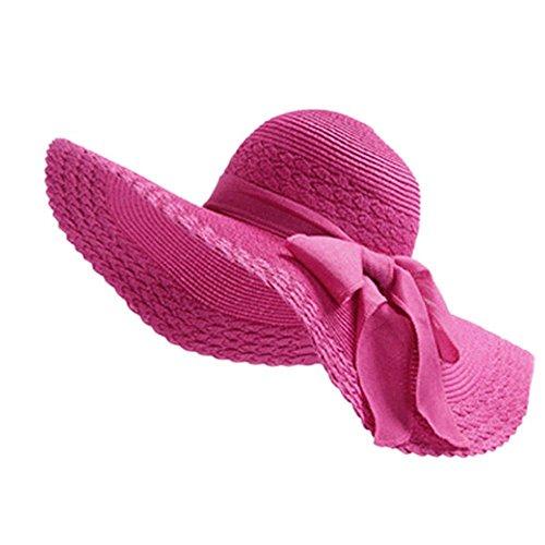 Leisial Mujer Ocio Sombrero de Playa de Ala Ancha Protector Solar Visera Sombrero de Paja Verano,Color Rosado