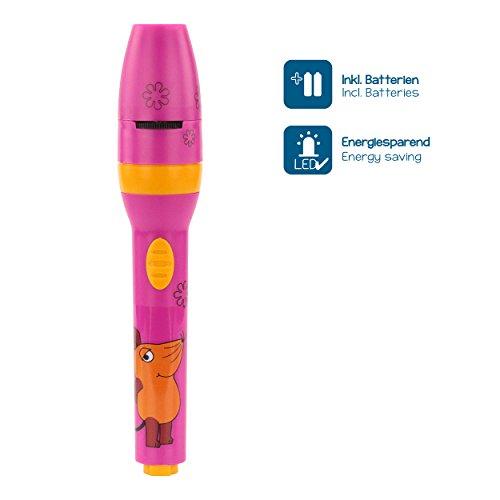 ANSMANN LED Kindertaschenlampe Projektionslampe Projektionsleuchte Mädchen pink - Lampe Projektor Geschenk für Kindergeburtstag etc. – geprüfte Materialien, hohe Kindersicherheit (Sendung mit der Maus) - 3