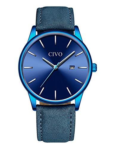 Herren Uhren Männer Sport Wasserdicht Leder Armbanduhr Mann Luxus Coole Mode Datum Lässige Analoge Uhr für Jugendliche Herren (2 Blau)