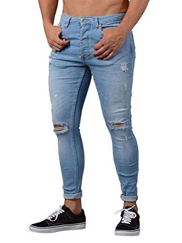 Tomwell Herren Jeans Slim Fit Basic Skinny Hose Mode Casual Destroyed Denim Strech Jeans Männer Zerrissen Denim Freizeithosen Blau S (Herren-skinny-jeans Zerstört)