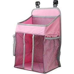 Organizador de pañales, Sunzit para bebé organizador multifunción para colgar en la mesita de noche bolsa de almacenamiento (Rosado)