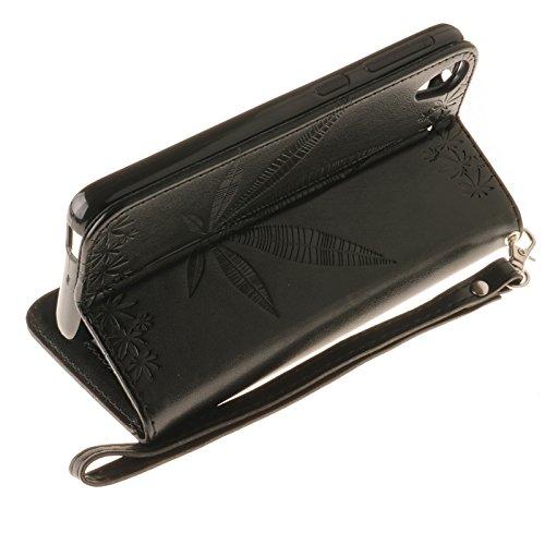YHUISEN Geprägte Maple Leaf Design PU-Leder Flip Wallet Stand Case mit Kartensteckplatz für HTC Desire 626 / 626s ( Color : Black ) Black
