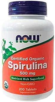 NOW Foods Organic Spirulina, Super Green, 500mg, 200 Tablets