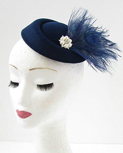 Bleu marine Blanc Plume Chapeau bibi courses vintage Cheveux années 1940 30S 733 * exclusivement Vendu par Starcrossed Beauty *