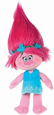 Trolls - Peluche princesa Poppy 37cm, pelo rosa vestido azul - Calidad super soft