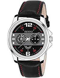 Frosino Mens Fashion Analog Quartz Watch with Black Faux Leather Band Unique Big Face Number Retro Casual Wrist Watches Classic Business Wristwatch- Silver Brown - FRAC101827