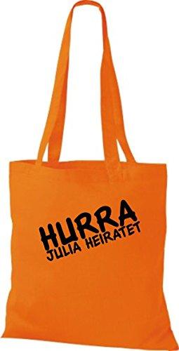 Shirtstown pochette avec inscription'hurra ... marie plusieurs couleurs Orange - Orange