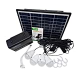 iUcar Solar Panel Power Storage Generator 12V LED-Licht USB-Ladegerät Home System Kit -schwarz