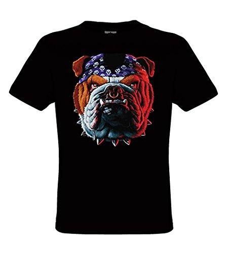 DarkArt-Designs Biker Bulldog - Hunde T-Shirt für Kinder und Erwachsene - Tiermotiv Shirt Wildlife Biker Rocker Lifestyle Regular Fit, Größe152/164, Schwarz (Hund Schwarz T-shirt Erwachsene)