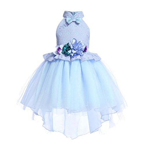 Uomogo royal abito bambina principessa vestito da cerimonia per damigella con bowknot floreale abiti per matrimonio carnevale natale regalo 2-8 anni, 100-150 cm