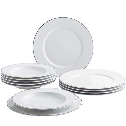 Kahla 45 a133 a7 2045 a Aronda ligne bleue | Set de vaisselle porcelaine | Lot de 6 personnes Assiettes weißblau rond 12teilig Assiettes creuses 23 cm Grande assiette 27 cm
