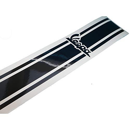 Vespa V50 PK PX GL GT Banner Aufkleber Beinschild in schwarz, Ersatzteil Sticker oder als Tank Schriftzug Dekor. Zum Oldtimer Restaurieren von Lack und Verkleidung. Alternativ zum Motorrad Emblem