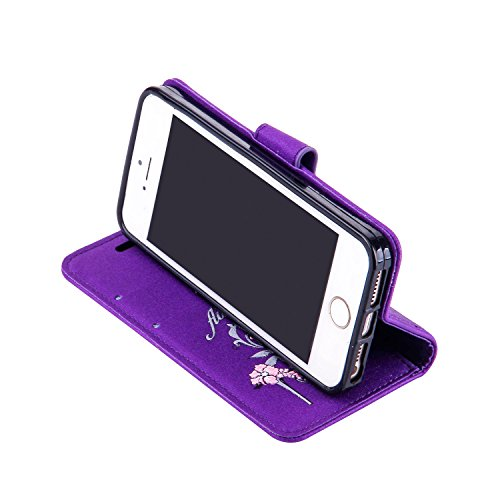 iPhone 5 5S 5G / iPhone SE Étui Housse, Coque iPhone 5 5S 5G / iPhone SE, Ecoway High heels pattern Series PU Case Cover Flip Cover Emplacement de Carte de Portefeuille Pour iPhone 5 5S 5G / iPhone SE Violet