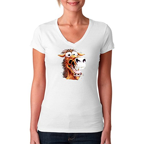 Im-Shirt - Fun Shirt: Crazy Horse - verrücktes Pferd cooles Fun Girlie Shirt - verschiedene Farben Weiß