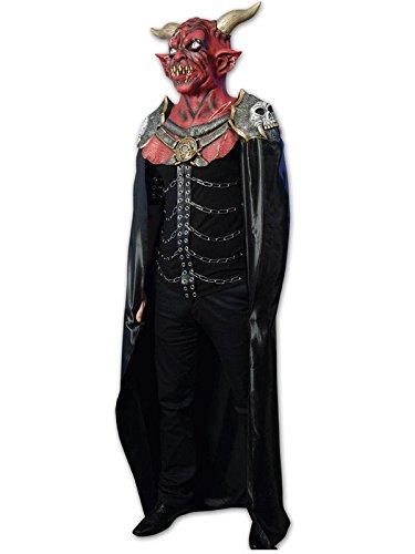 Dämon Halloween Latex Maske Teufel rot weiss gold