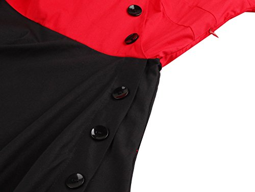 Robes de soirée 50s, VERNASSA Vintage 3/4 Sleeve Audrey Retro Belted Retro 1950s Casual Party Evening Cocktail Rockailly Swing Dress, Multicolor, S-4XL 1523-Rouge