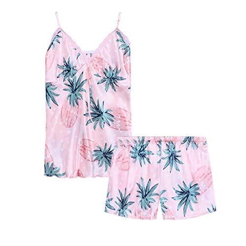 Linkay Damen Nachthemden Dessous Schlafanzugoberteile Bequem Zuhause Schlafanzughosen Kurzes Nachtwäscheset Pyjama Gesetzt Mode 2019 (Rosa, Medium) -