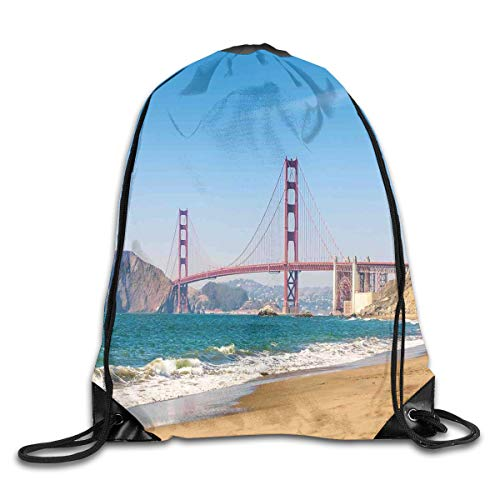 EELKKO Drawstring Backpack Gym Bags Storage Backpack, Panoramic View of Golden Gate Bridge San Francisco Coastline Nature Seascape,Deluxe Bundle Backpack Outdoor Sports Portable Daypack