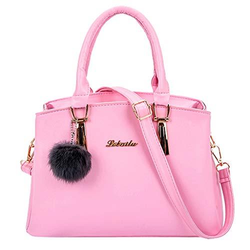TianWlio Handtasche Damen Mode Einfarbig Haarballen Crossbody Tasche Schultertasche Rosa - E/w-cross-body-organizer