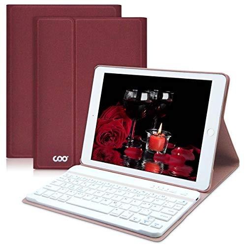 COO iPad Hülle Tastatur für 9,7'' iPad 2018(6. Gen.)/2017 iPad (5. Gen.), iPad Pro 9.7/iPad Air/Air 2/QWERTZ Abnehmbare Kabellose Bluetooth Tastatur und Multi Winkel ultradünne PU Hülle(Weinrot)