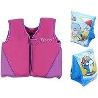 Genwiss Giacca Bambino Swim Media Vita 3–4anni Viola includono Swim fascia da braccio