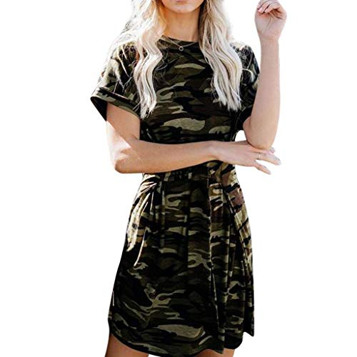 Sasstaids Mode Frauen Partykleid Camouflage Verband Bodycon Kleid Club Party Cocktail Minikleid Hepburn Kleid (Camouflage-abend-kleid)