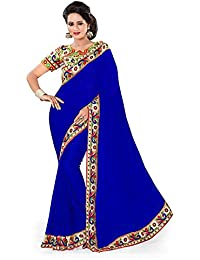 Aaradhya Fashion Georgette Saree (Peacock-Blue-01_Blue)