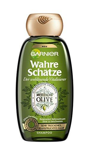 Garnier Wahre Schätze Shampoo, Mythische Olive, nährt und regeneriert sehr trockenes, beanspruchtes Haar, ohne Parabene, 250 ml