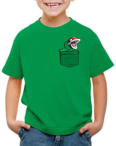 Kids Mario Pirahna Plant in Pocket T-shirt, green or white