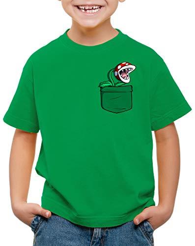 Kids Mario Pirahna Plant in Pocket T-shirt, green or white
