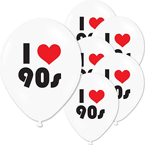 Pack of 10 I Loveheart the 90s Party Balloons, Latex