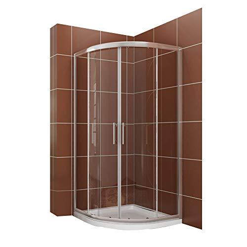 Duschkabine Viertelkreis 90x90cm Duschabtrennung Duschtür ohne Duschtasse Runddusche Schiebetür Dusche Duschwand Höhe 185cm